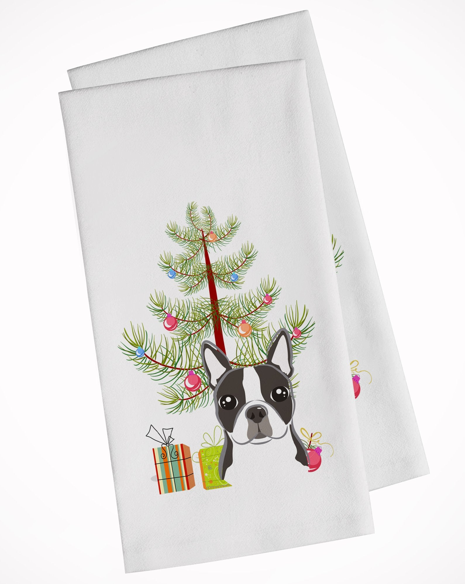 Buy this Christmas Tree and Boston Terrier White Kitchen Towel Set of 2 BB1575WTKT