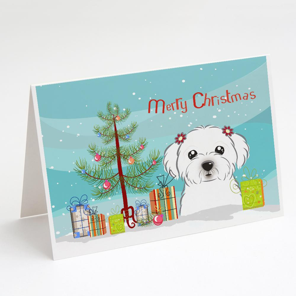 Buy this Christmas Tree and Maltese Greeting Cards and Envelopes Pack of 8