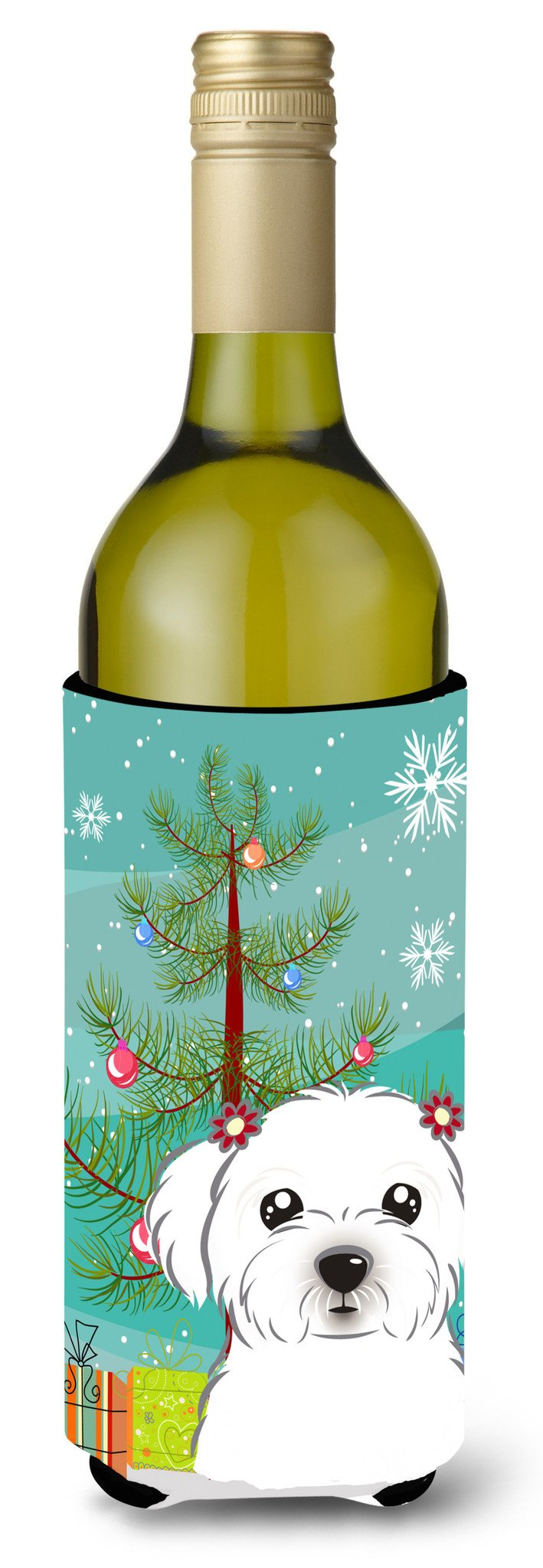 Christmas Tree and Maltese Wine Bottle Beverage Insulator Hugger BB1580LITERK by Caroline's Treasures