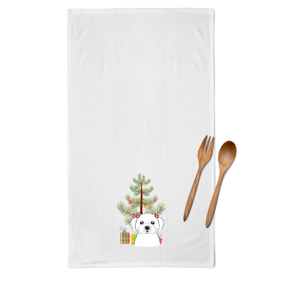 Buy this Christmas Tree and Maltese White Kitchen Towel Set of 2 BB1580WTKT