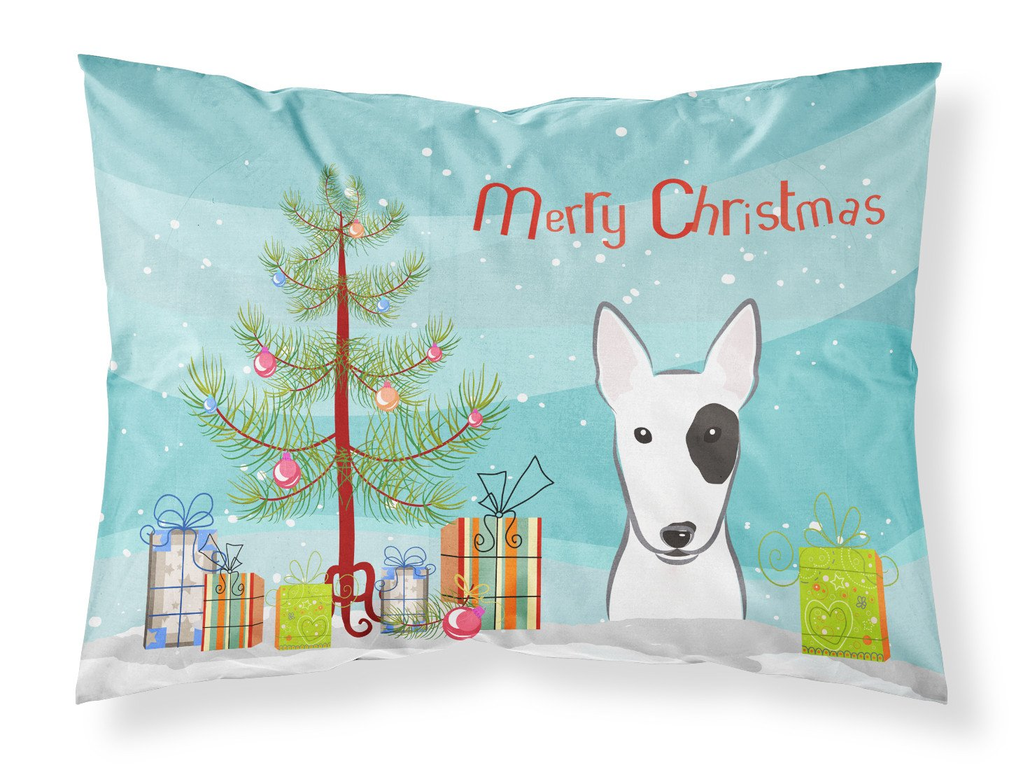 Buy this Christmas Tree and Bull Terrier Fabric Standard Pillowcase BB1581PILLOWCASE