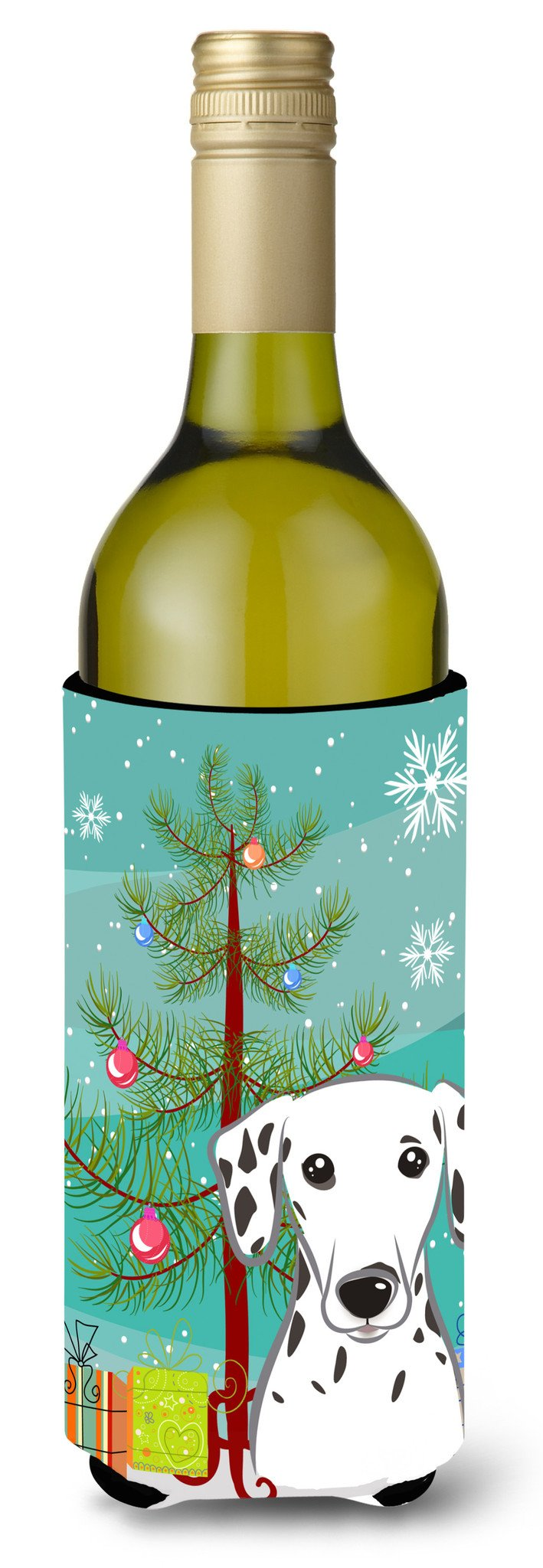 Christmas Tree and Dalmatian Wine Bottle Beverage Insulator Hugger BB1582LITERK by Caroline's Treasures