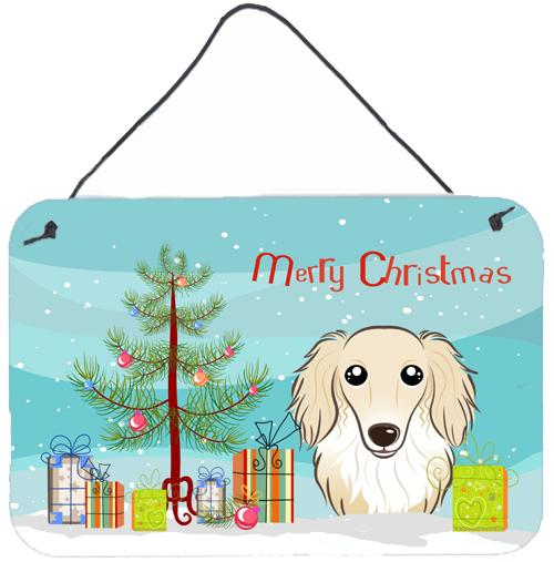 Buy this Christmas Tree and Longhair Creme Dachshund Wall or Door Hanging Prints BB1584DS812