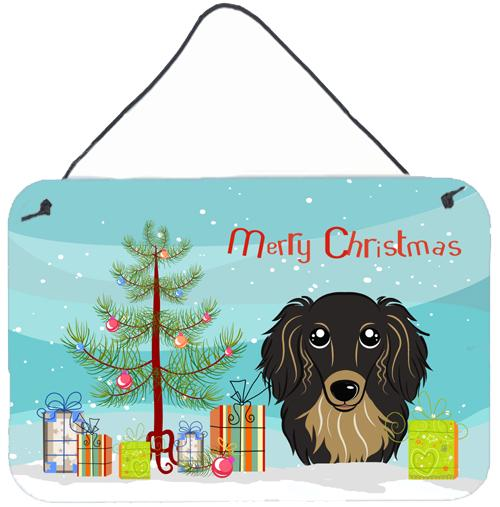 Buy this Christmas Tree and Longhair Black and Tan Dachshund Wall or Door Hanging Prints BB1585DS812