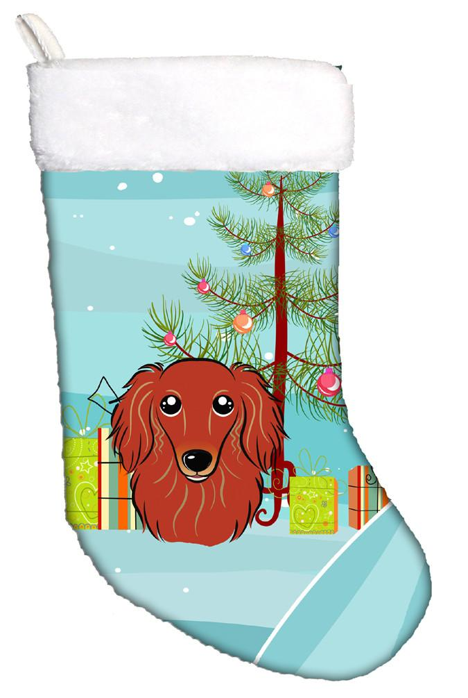 Buy this Christmas Tree and Longhair Red Dachshund Christmas Stocking BB1586CS