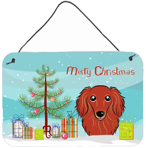 Buy this Christmas Tree and Longhair Red Dachshund Wall or Door Hanging Prints BB1586DS812