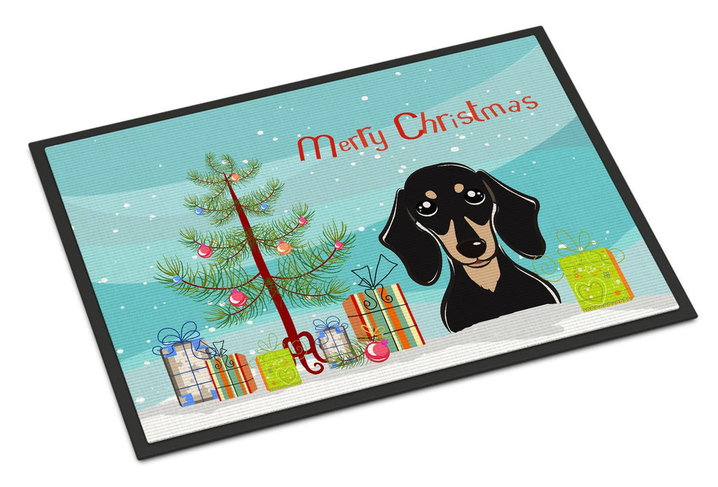 Buy this Christmas Tree and Smooth Black and Tan Dachshund Indoor or Outdoor Mat 24x36 BB1587JMAT