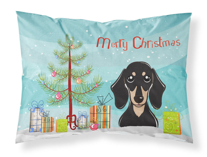 Buy this Christmas Tree and Smooth Black and Tan Dachshund Fabric Standard Pillowcase BB1587PILLOWCASE