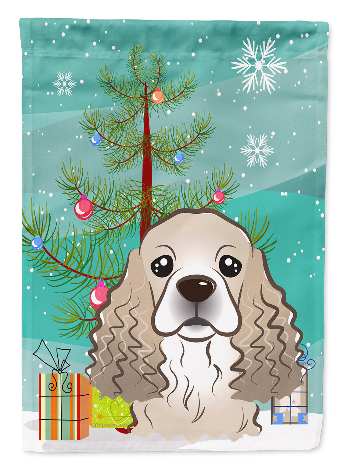 Christmas Tree and Cocker Spaniel Flag Canvas House Size BB1588CHF by Caroline's Treasures
