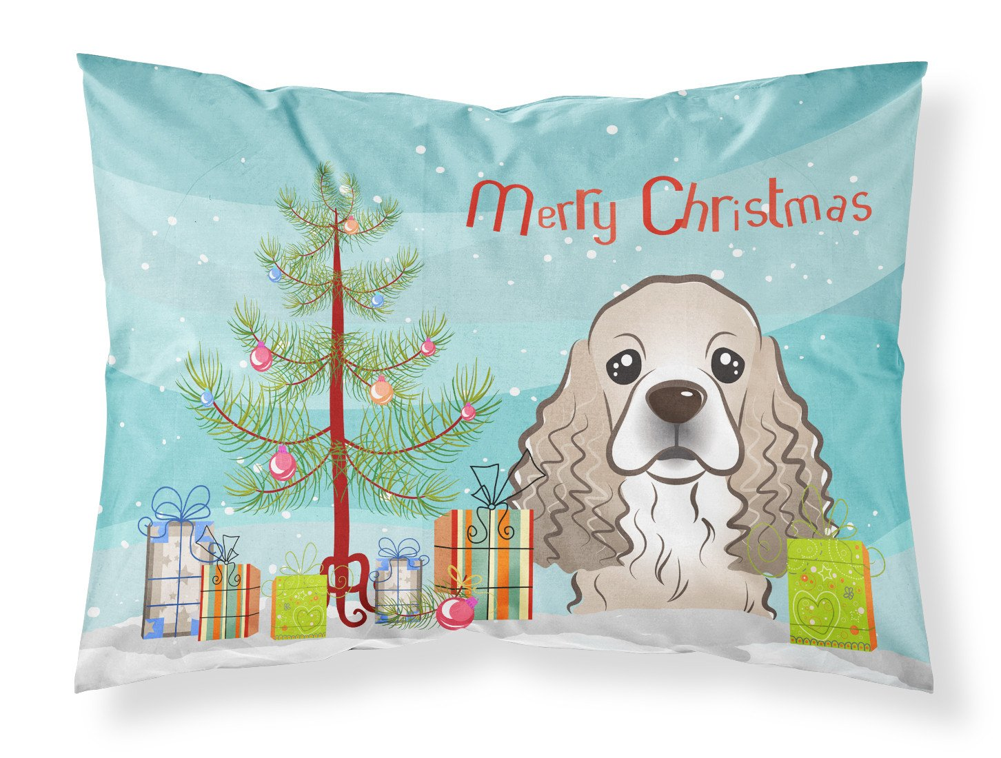 Buy this Christmas Tree and Cocker Spaniel Fabric Standard Pillowcase BB1588PILLOWCASE