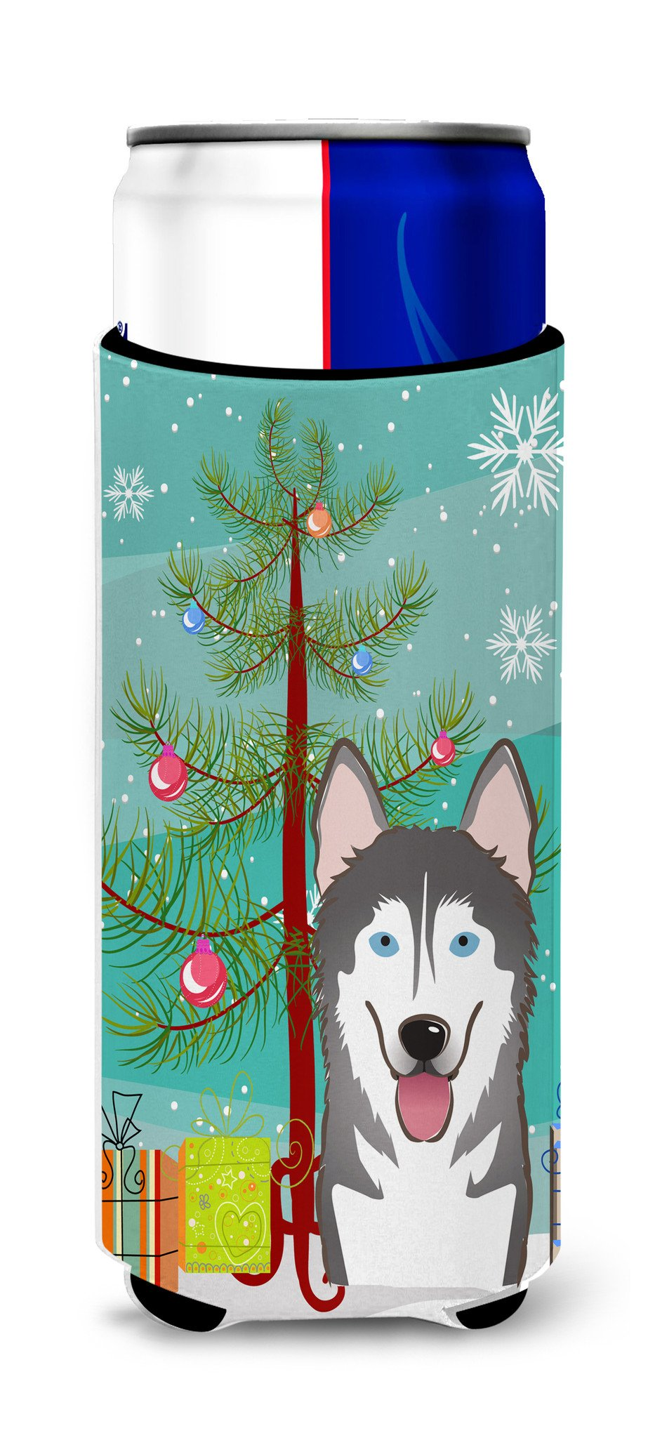 Christmas Tree and Alaskan Malamute Ultra Beverage Insulators for slim cans BB1590MUK by Caroline's Treasures