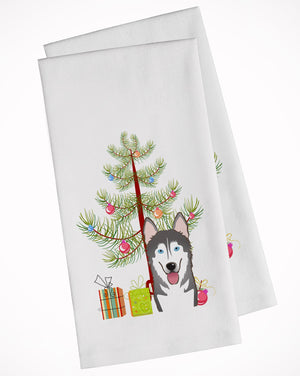 Buy this Christmas Tree and Alaskan Malamute White Kitchen Towel Set of 2 BB1590WTKT