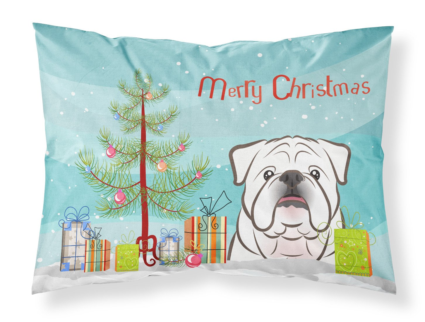 Buy this Christmas Tree and White English Bulldog  Fabric Standard Pillowcase BB1592PILLOWCASE