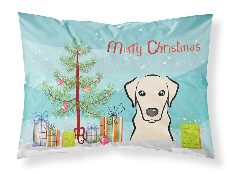 Buy this Christmas Tree and Yellow Labrador Fabric Standard Pillowcase BB1594PILLOWCASE
