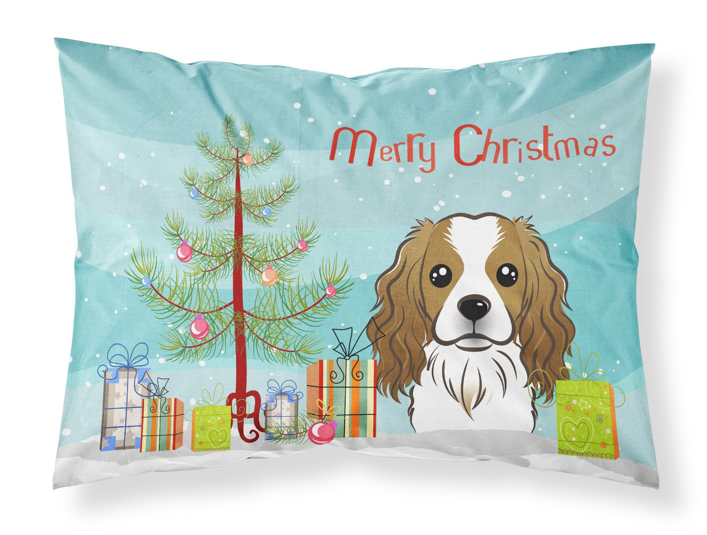 Buy this Christmas Tree and Cavalier Spaniel Fabric Standard Pillowcase BB1596PILLOWCASE