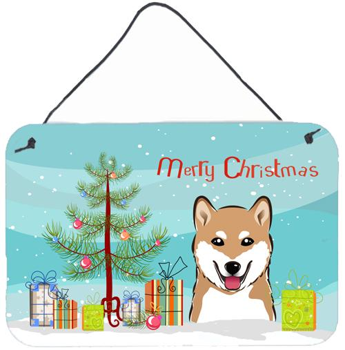 Christmas Tree and Shiba Inu Wall or Door Hanging Prints BB1597DS812 by Caroline's Treasures