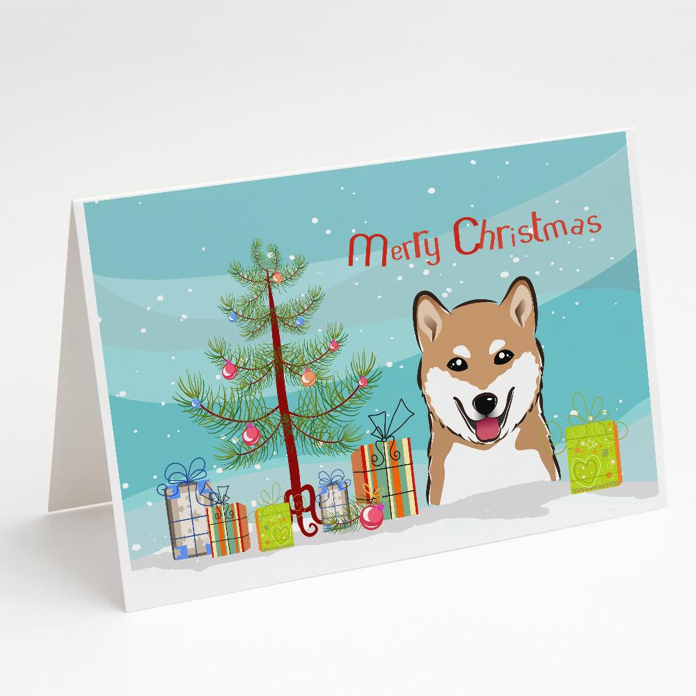 Buy this Christmas Tree and Shiba Inu Greeting Cards and Envelopes Pack of 8