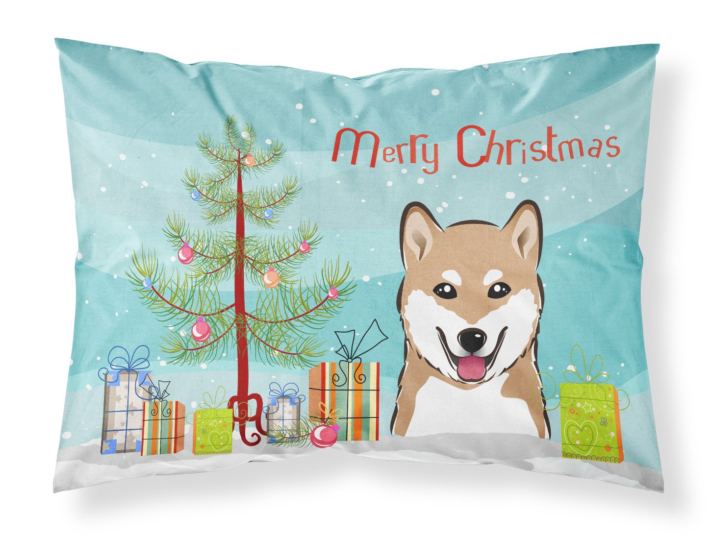 Christmas Tree and Shiba Inu Fabric Standard Pillowcase BB1597PILLOWCASE by Caroline's Treasures