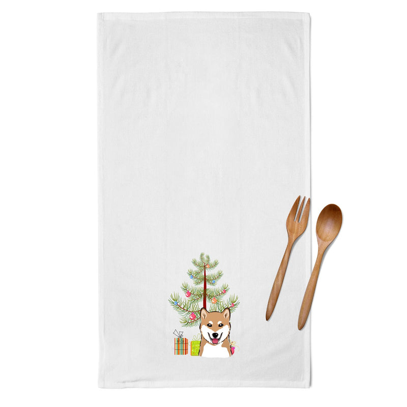 Buy this Christmas Tree and Shiba Inu White Kitchen Towel Set of 2 BB1597WTKT