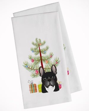 Buy this Christmas Tree and French Bulldog White Kitchen Towel Set of 2 BB1599WTKT