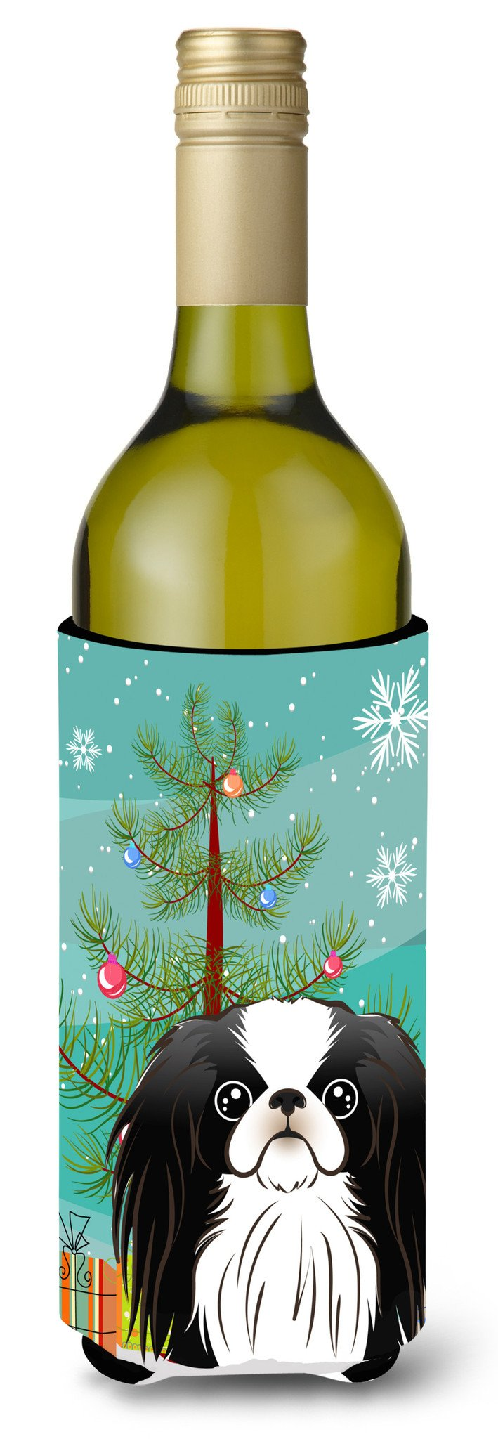 Christmas Tree and Japanese Chin Wine Bottle Beverage Insulator Hugger BB1602LITERK - the-store.com