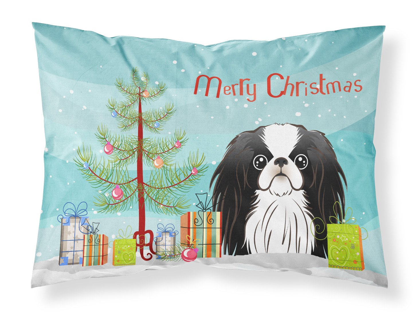 Buy this Christmas Tree and Japanese Chin Fabric Standard Pillowcase BB1602PILLOWCASE