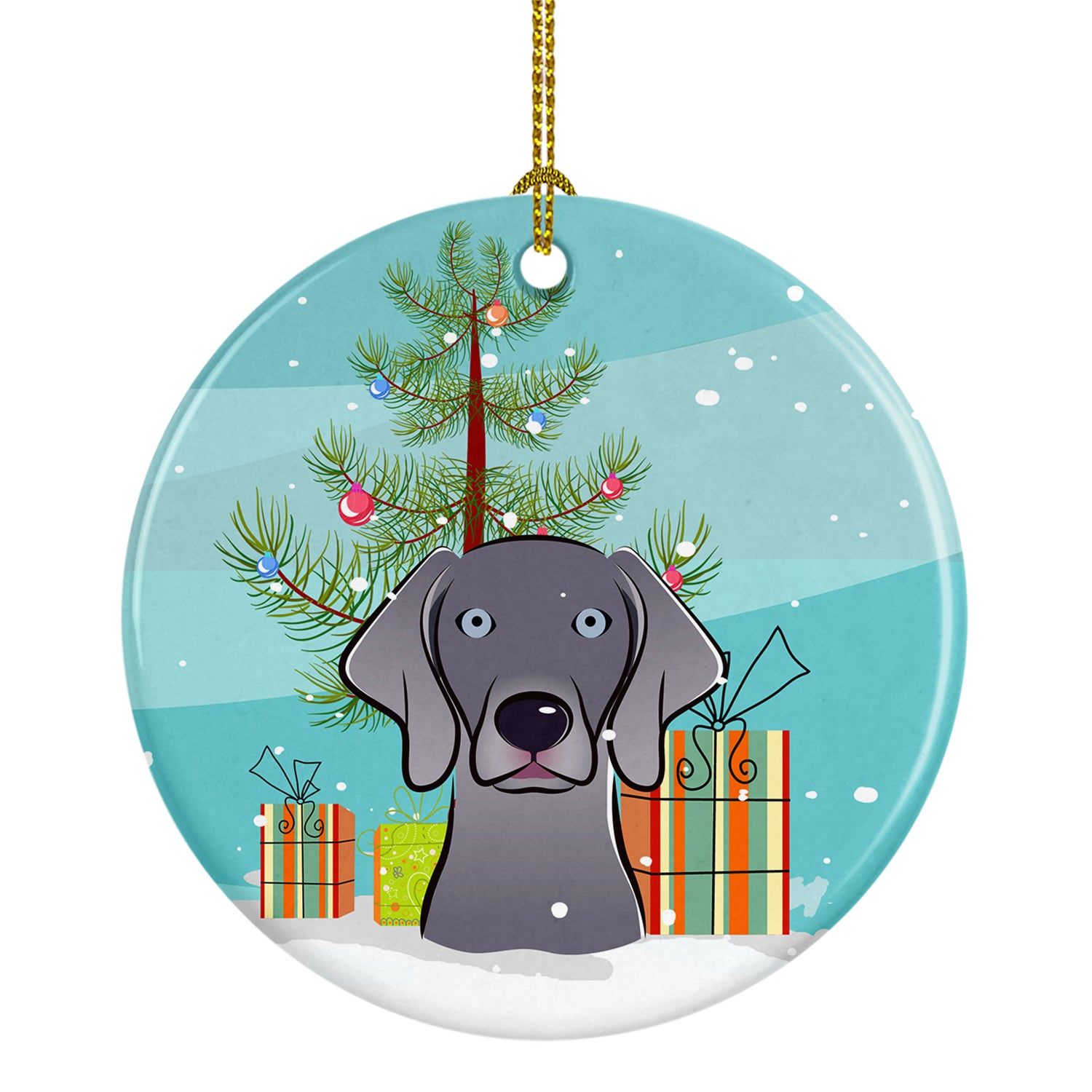 Buy this Christmas Tree and Weimaraner Ceramic Ornament BB1603CO1