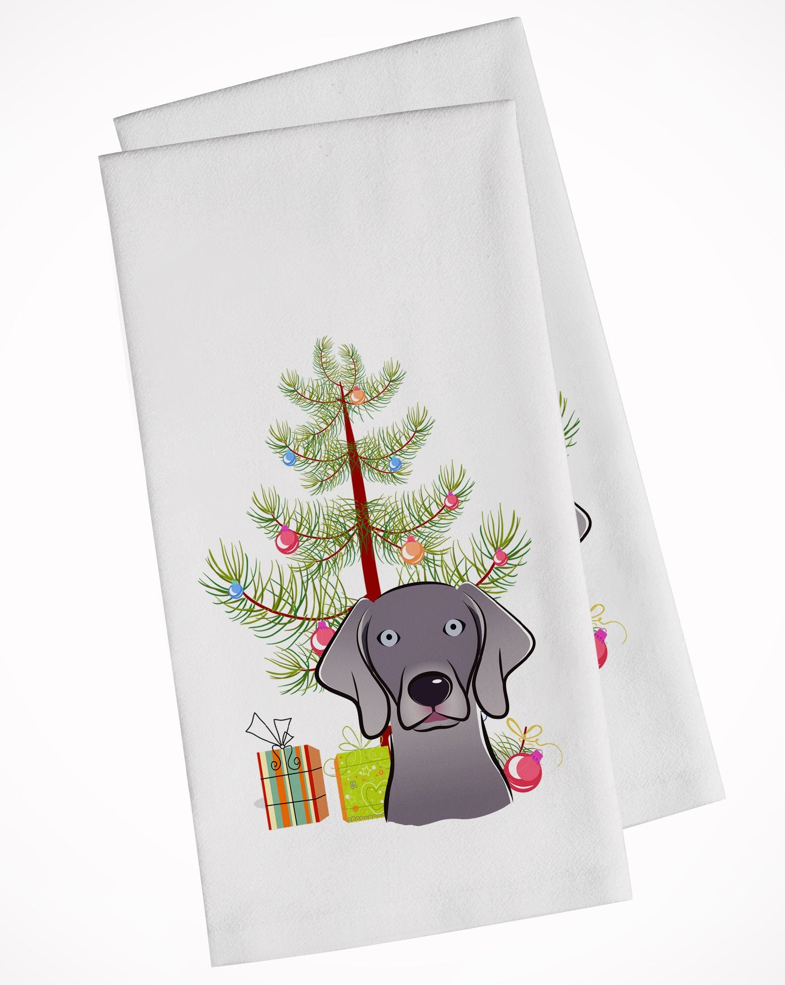 Buy this Christmas Tree and Weimaraner White Kitchen Towel Set of 2 BB1603WTKT