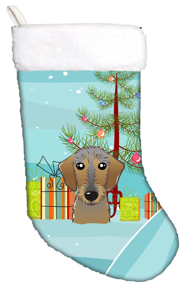 Christmas Tree And Wirehaired Dachshund Christmas Stocking Bb1605cs The Store Com