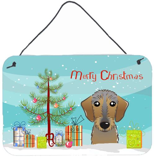 Buy this Christmas Tree and Wirehaired Dachshund Wall or Door Hanging Prints BB1605DS812
