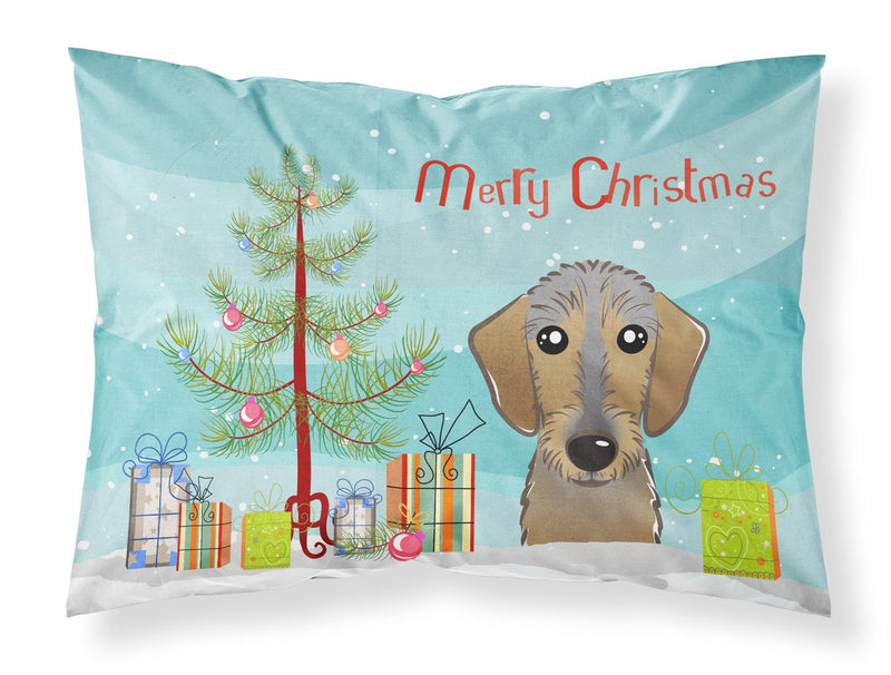 Buy this Christmas Tree and Wirehaired Dachshund Fabric Standard Pillowcase BB1605PILLOWCASE