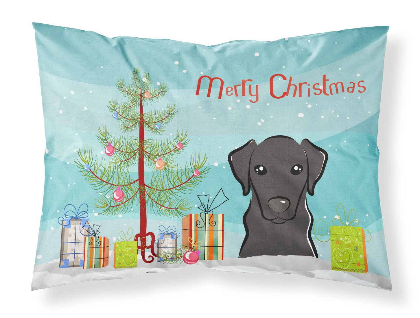 Buy this Christmas Tree and Black Labrador Fabric Standard Pillowcase BB1607PILLOWCASE