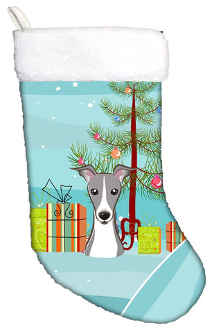 Buy this Christmas Tree and Italian Greyhound Christmas Stocking BB1608CS