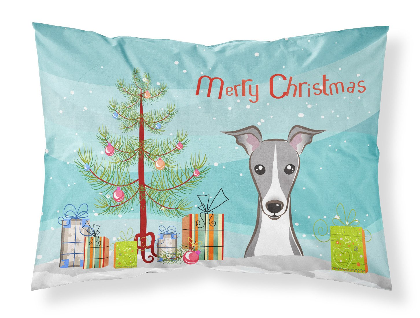 Buy this Christmas Tree and Italian Greyhound Fabric Standard Pillowcase BB1608PILLOWCASE