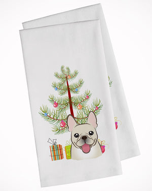 Buy this Christmas Tree and French Bulldog White Kitchen Towel Set of 2 BB1610WTKT