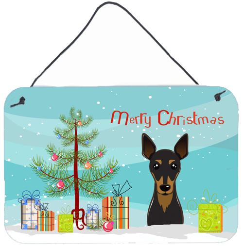 Christmas Tree and Min Pin Wall or Door Hanging Prints by Caroline's Treasures