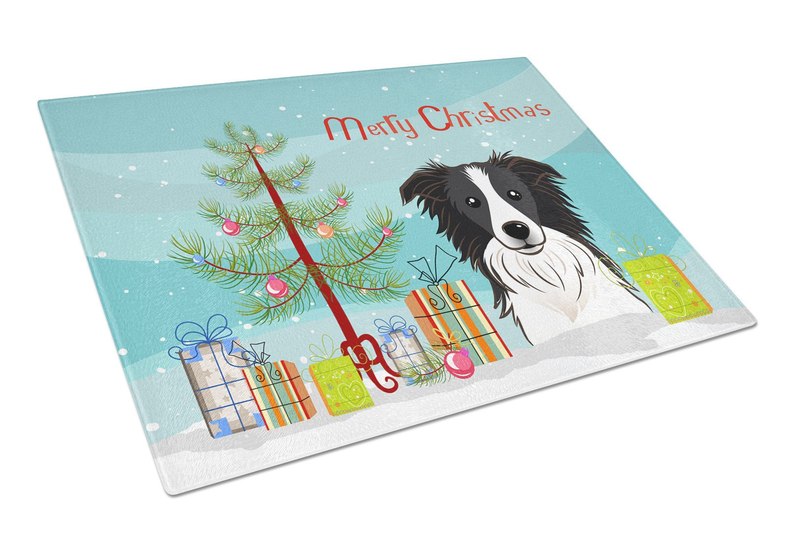 Christmas Tree and Border Collie Glass Cutting Board Large BB1613LCB by Caroline's Treasures