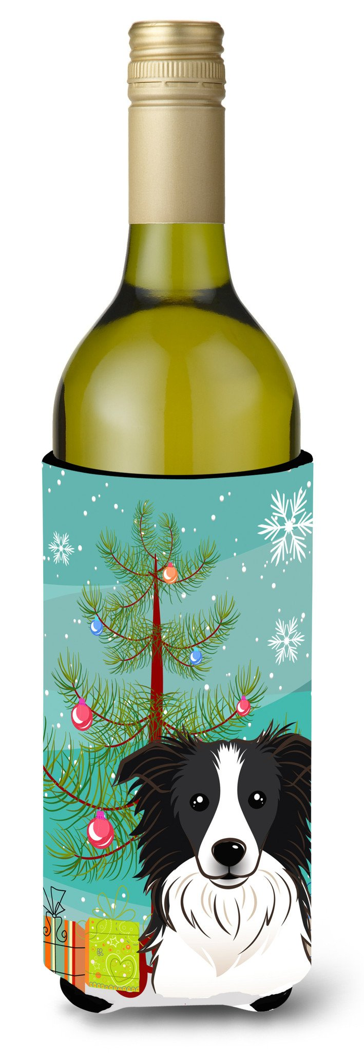 Christmas Tree and Border Collie Wine Bottle Beverage Insulator Hugger BB1613LITERK by Caroline's Treasures