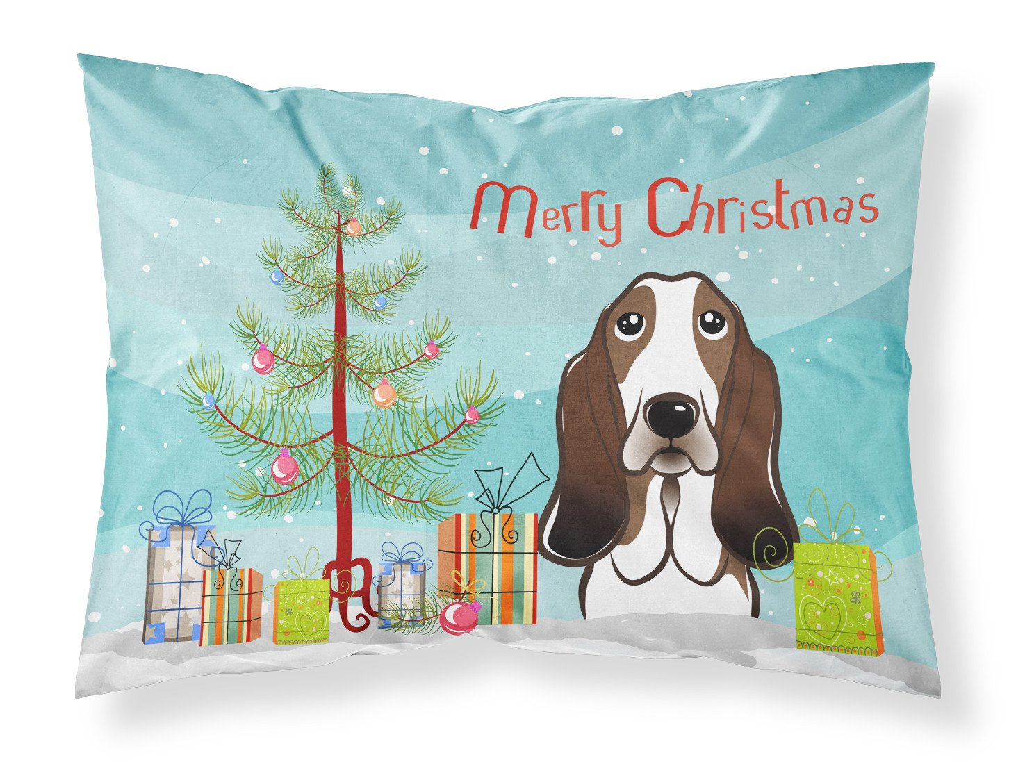 Buy this Christmas Tree and Basset Hound Fabric Standard Pillowcase BB1615PILLOWCASE