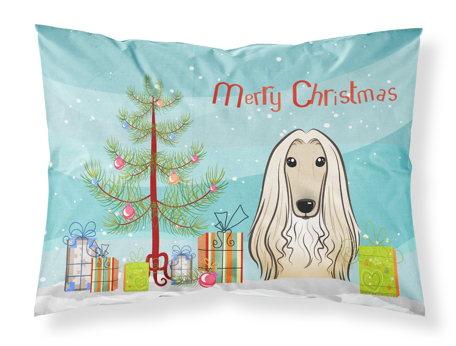 Buy this Christmas Tree and Afghan Hound Fabric Standard Pillowcase BB1616PILLOWCASE
