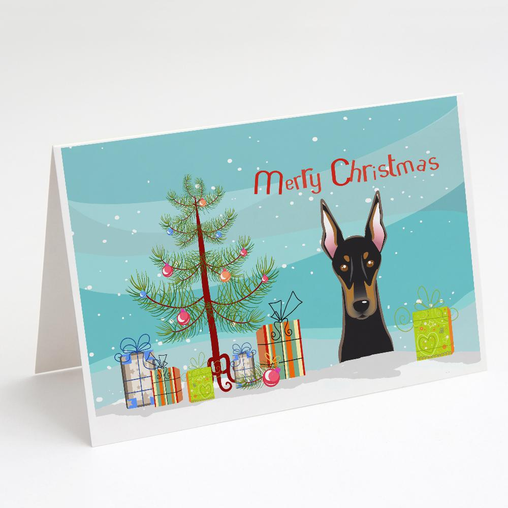 Buy this Christmas Tree and Doberman Greeting Cards and Envelopes Pack of 8
