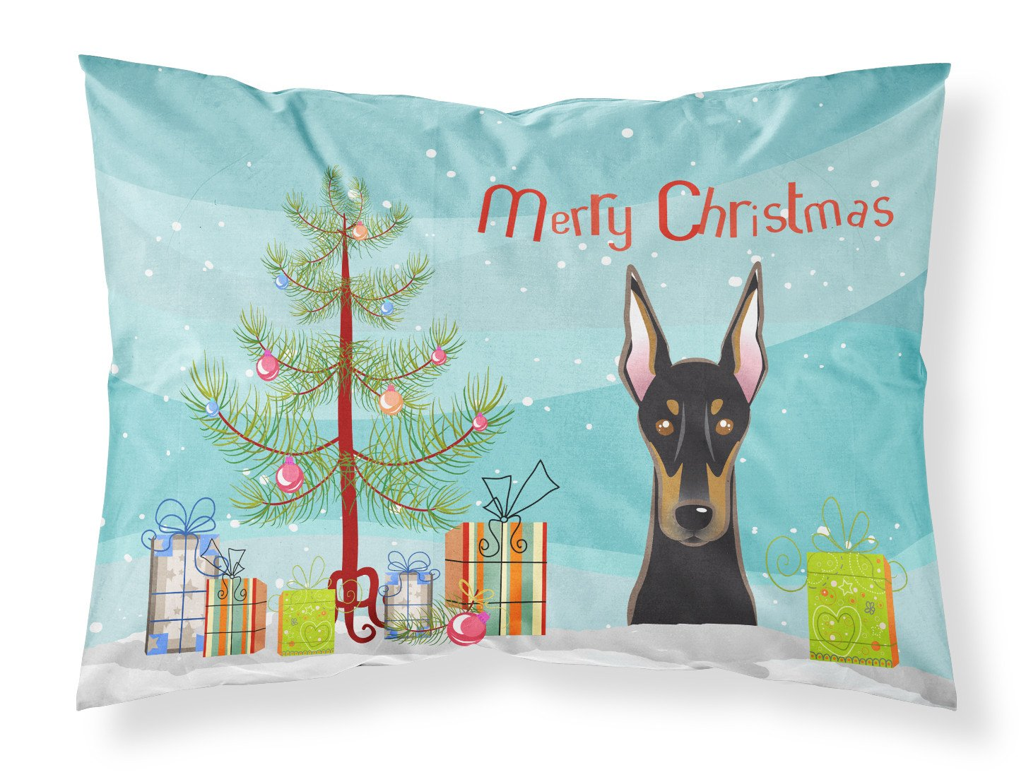 Buy this Christmas Tree and Doberman Fabric Standard Pillowcase BB1617PILLOWCASE
