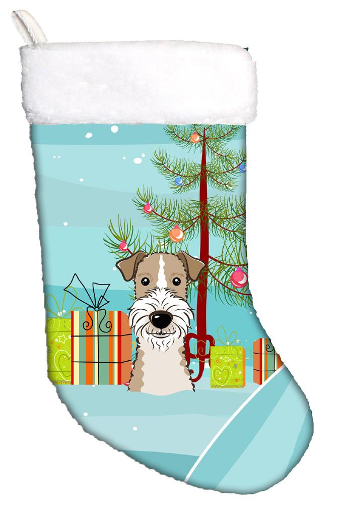 Buy this Christmas Tree and Wire Haired Fox Terrier Christmas Stocking BB1619CS