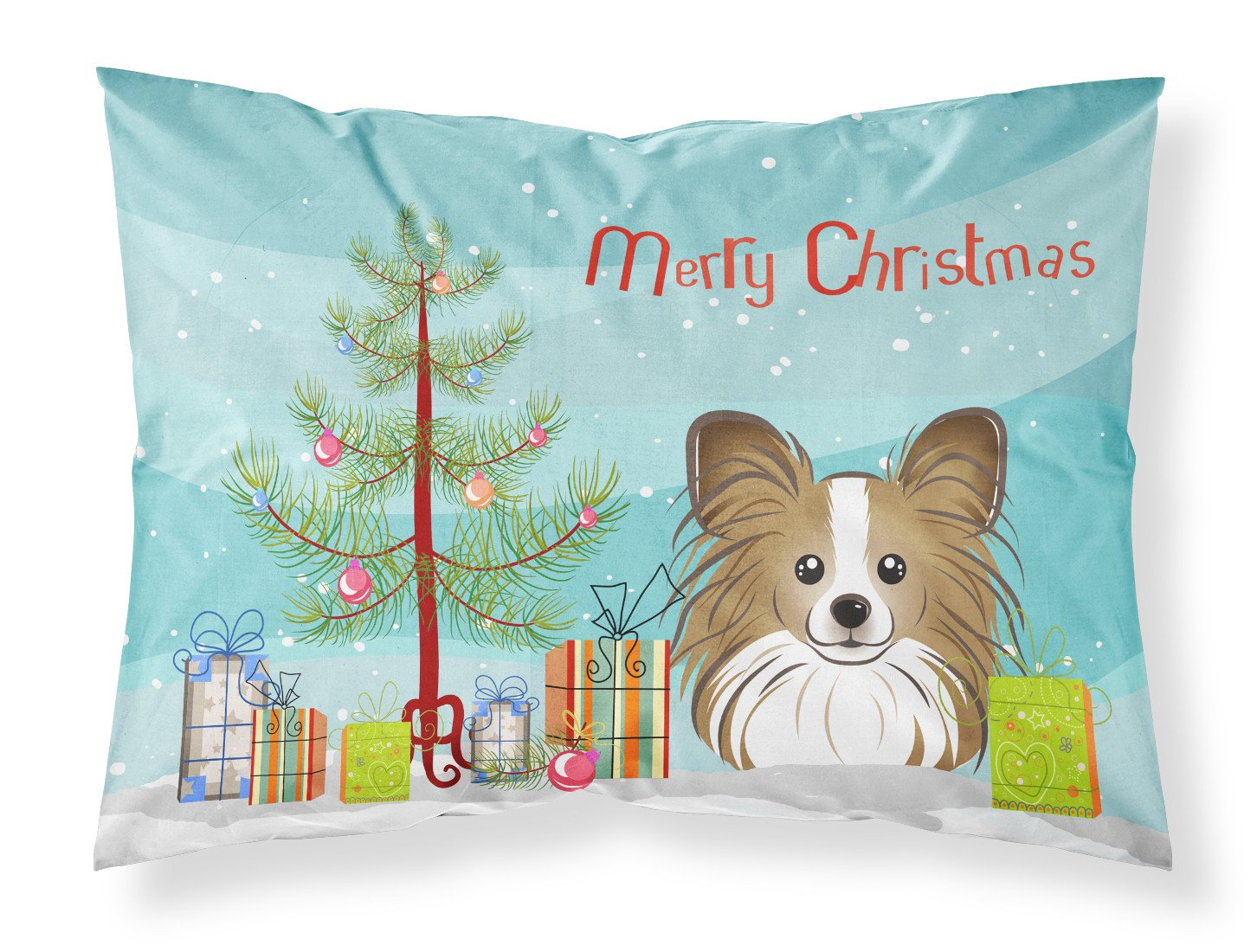 Christmas Tree and Papillon Fabric Standard Pillowcase BB1620PILLOWCASE by Caroline's Treasures