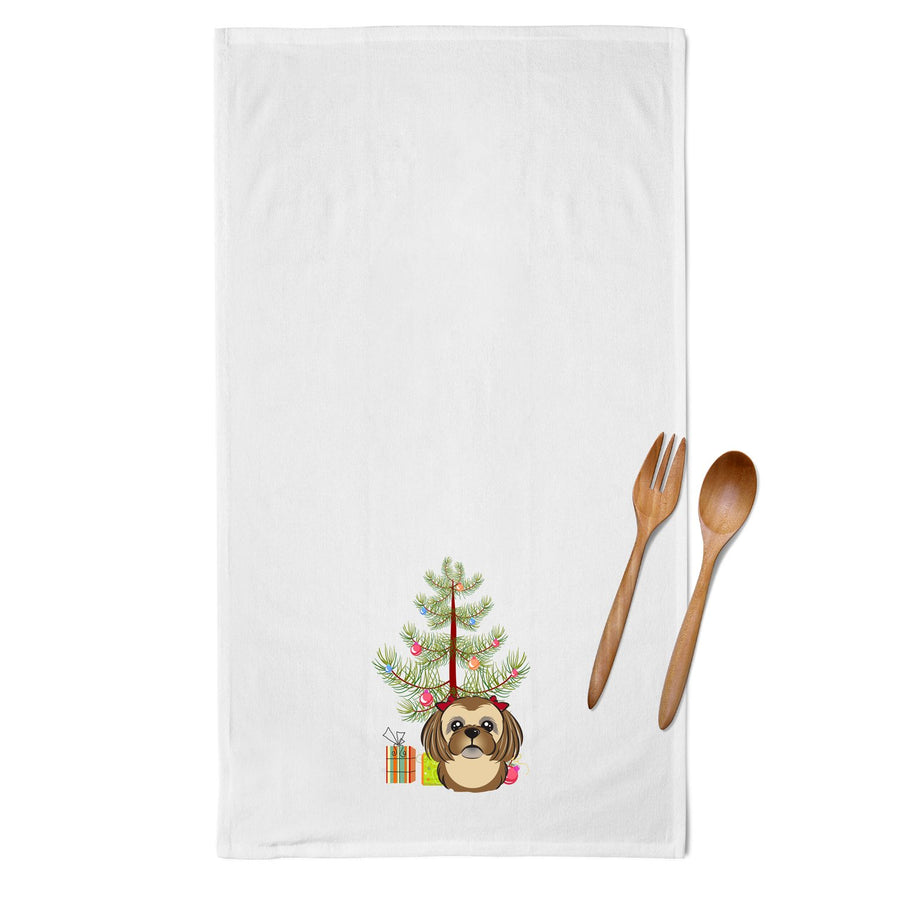 Buy this Christmas Tree and Chocolate Brown Shih Tzu White Kitchen Towel Set of 2 BB1621WTKT
