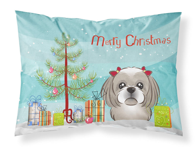 Buy this Christmas Tree and Gray Silver Shih Tzu Fabric Standard Pillowcase BB1622PILLOWCASE