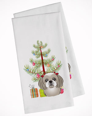 Buy this Christmas Tree and Gray Silver Shih Tzu White Kitchen Towel Set of 2 BB1622WTKT