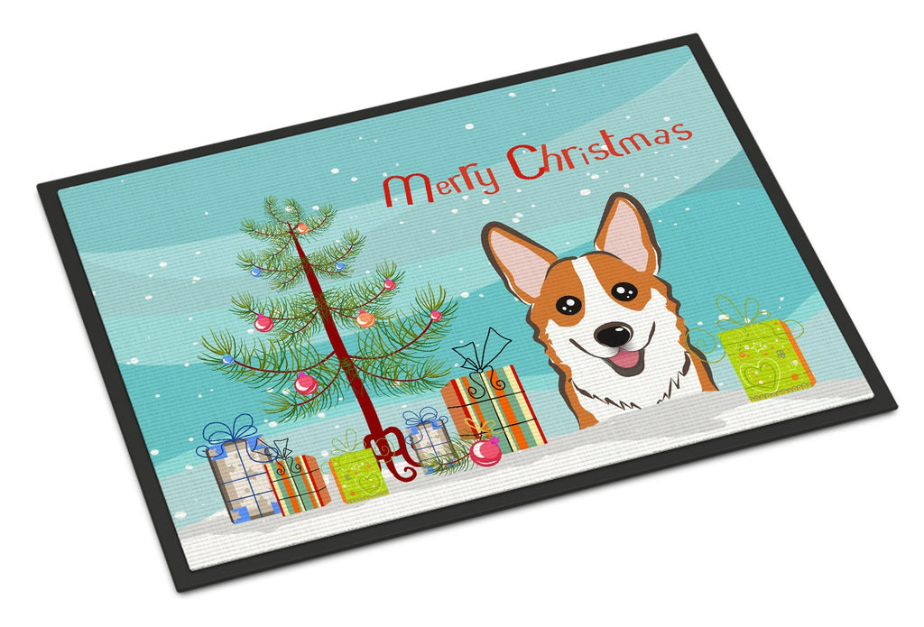 Buy this Christmas Tree and Red Corgi Indoor or Outdoor Mat 18x27 BB1626MAT