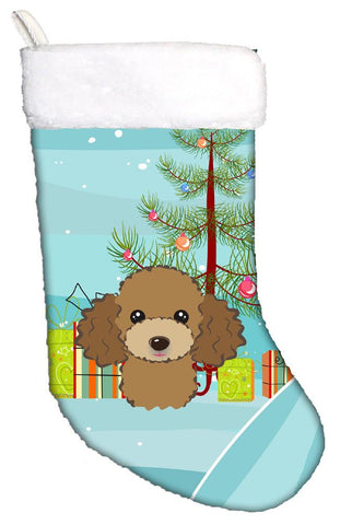 Buy this Christmas Tree and Chocolate Brown Poodle Christmas Stocking BB1628CS