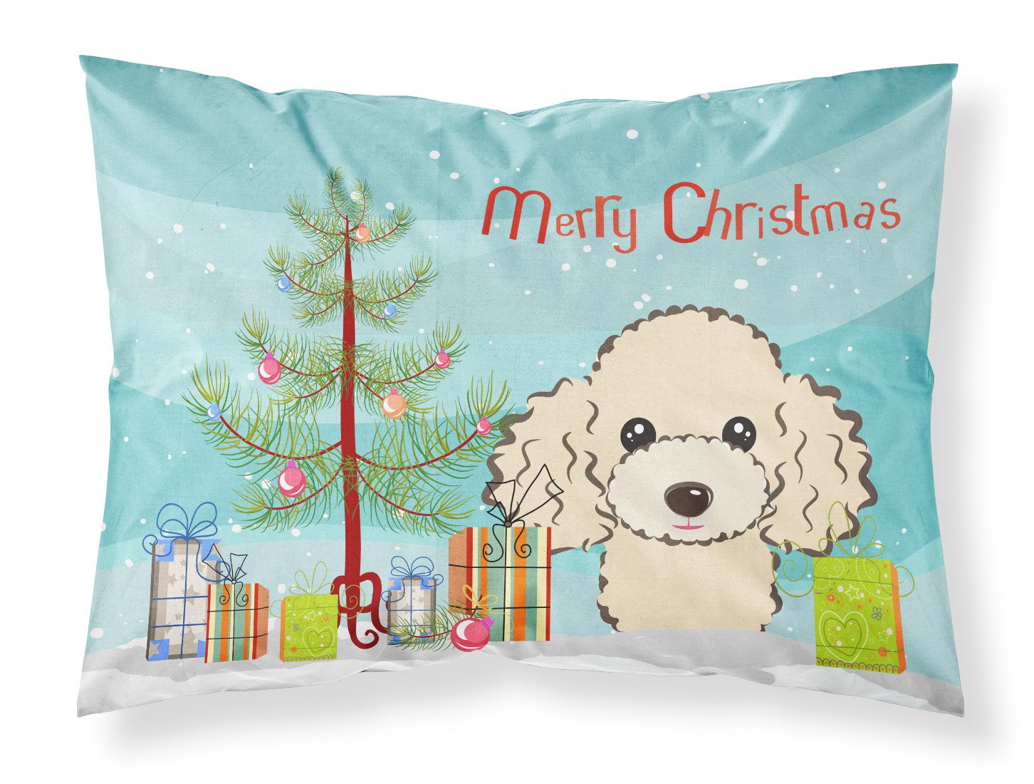 Buy this Christmas Tree and Buff Poodle Fabric Standard Pillowcase BB1630PILLOWCASE
